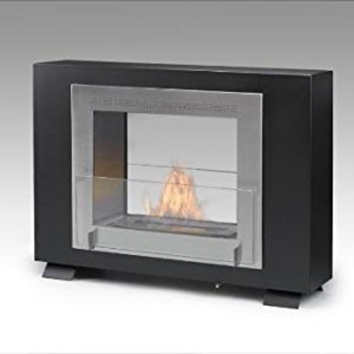 Eco-Feu Wellington 2-Sided Fireplace, Matte Black with Stainless Interior [Matte Black with Stainless Interior]
