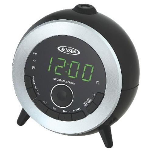 JENSEN FM Dual Alarm Projection Clock Radio - Black