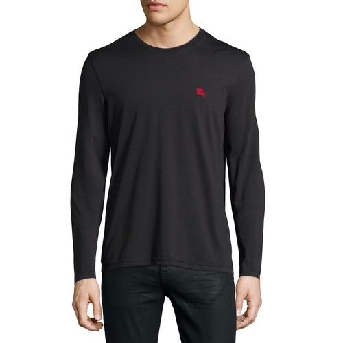BURBERRY BRIT Ing Long-Sleeve Crewneck Shirt, Black