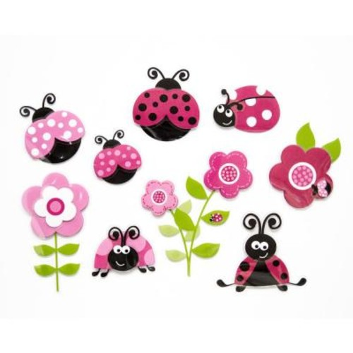 Brewster 11.8 in. x 11.8 in. Pink Ladybugs 3D Wall Decal