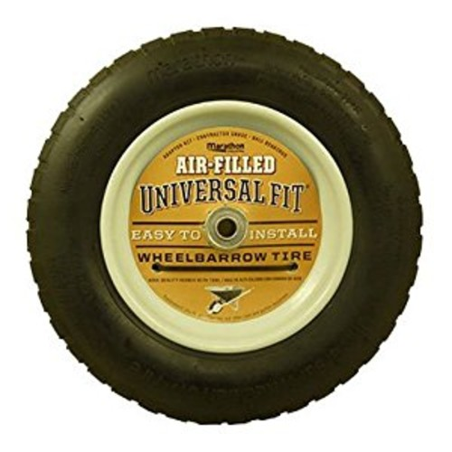 Marathon Universal Fit Air-Filled Wheelbarrow Tire on Wheel with Spacer/Bushing Kit Included [Air Filled]