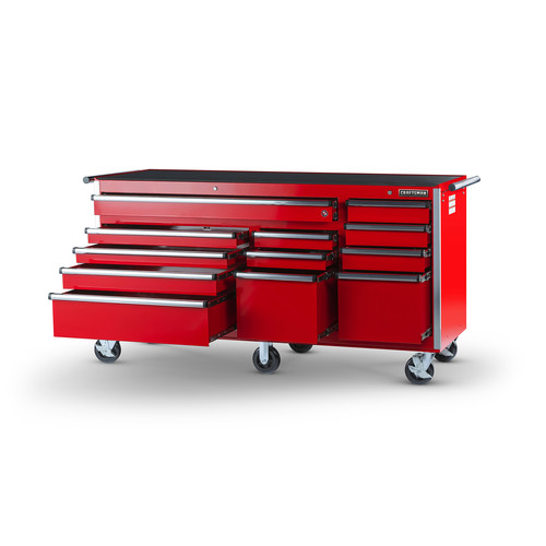 Craftsman 75 in. 12-Drawer Ball Bearing Slides Cabinet, Red