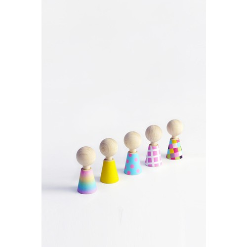 Multicolor Pebbles Peg Dolls