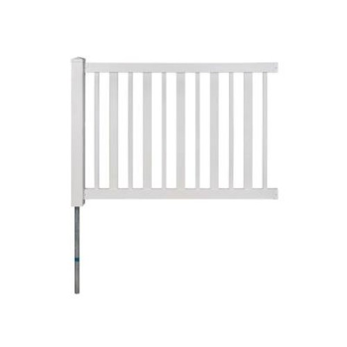 WamBam Fence Sturbridge Vinyl Yard & Pool Fence w/Post and No-Dig Steel Pipe Anchor Kit (4 ft. H x 6 ft. W)
