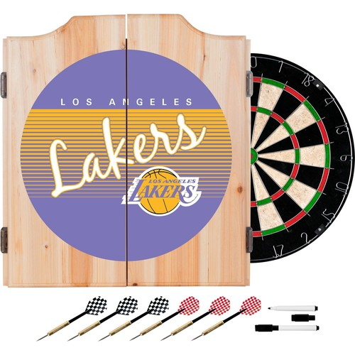 Trademark Global Los Angeles Lakers Hardwood Classic Dart Cabinet