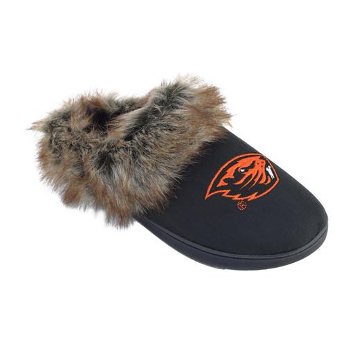NCAA Womens Logo Fur Scuff Slippers - Oregon State Beavers