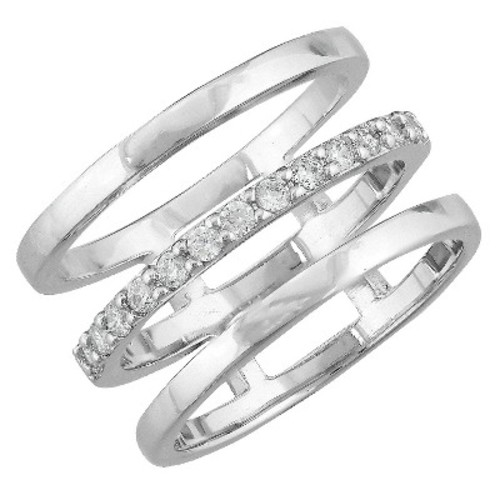 Women's Silver Plated Cubic Zirconia Triple Open Band Ring (8)