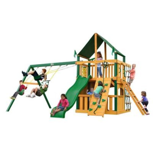 Gorilla Playsets Chateau Clubhouse with Timber Shield and Sunbrella Canvas Forest Green Canopy Cedar Swing Set