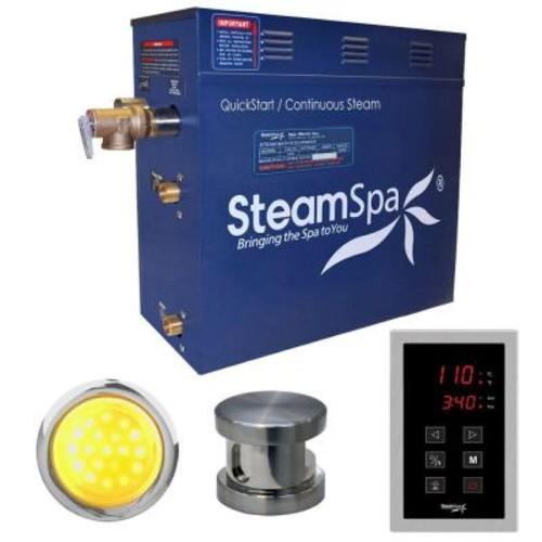 SteamSpa Indulgence 4.5kW QuickStart Steam Bath Generator Package in Polished Brushed Nickel