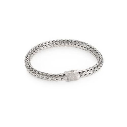 Classic Chain Diamond & Sterling Silver Medium Bracelet