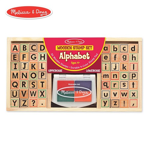 Melissa & Doug Wooden Alphabet Stamp Set - 56 Stamps With Lower-Case and Capital Letters: Melissa & Doug: Toys & Games
