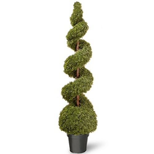 National Tree 60-Inch Cedar Spiral Ball Plant with Green Pot