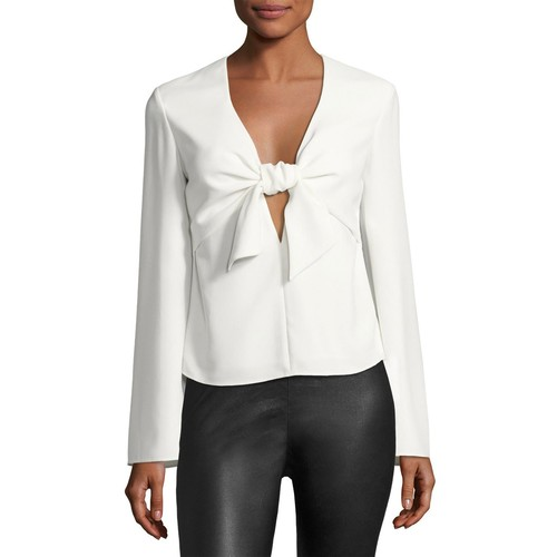 T BY ALEXANDER WANG Long-Sleeve Tie Front Shirt, Ivory