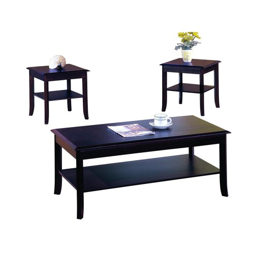 Pilaster Designs - 3 Pc. Cherry Finish Wood Occasional Table Set Coffee Table & 2 End Tables