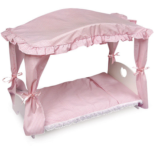 Badger Basket Canopy Doll Bed with Bedding (fits American Girl dolls)