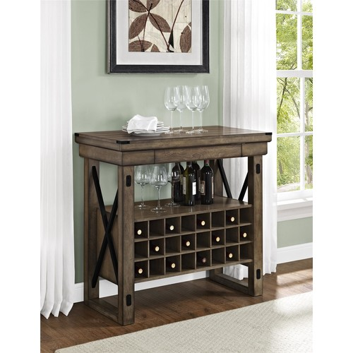 Dorel Wildwood Rustic Gray Bar Cabinet