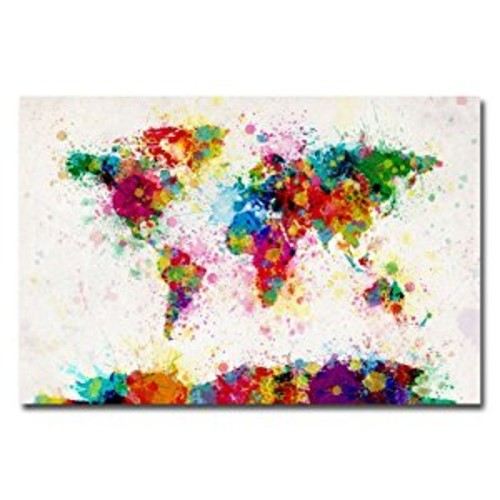 Paint Splashes World Map by Michael Tompsett, 16x24-Inch Canvas Wall Art [16 by 24-Inch]