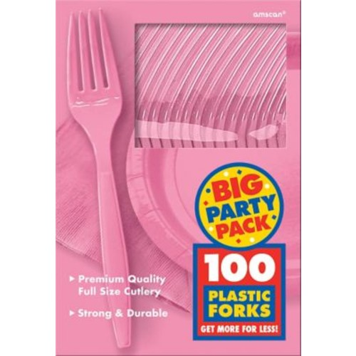 Amscan Big Party Pack Mid Weight Fork, Pink, 3/Pack, 100 Per Pack (43600.109)