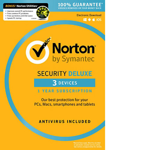 Norton Security Deluxe, For 3 Devices, 1-Year Subscription, Download Version