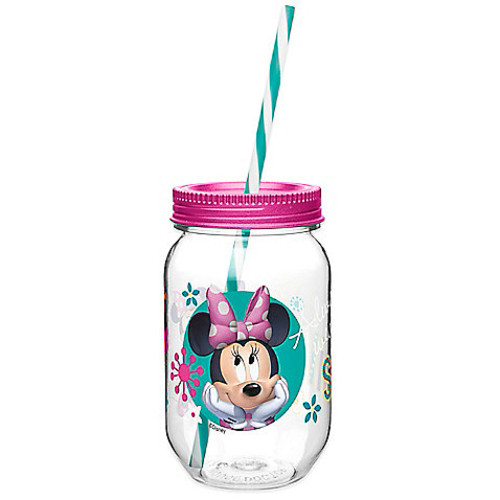 Zak! Designs Minnie Mouse 19-Ounce Tritan Canning Jar Tumbler with Straw