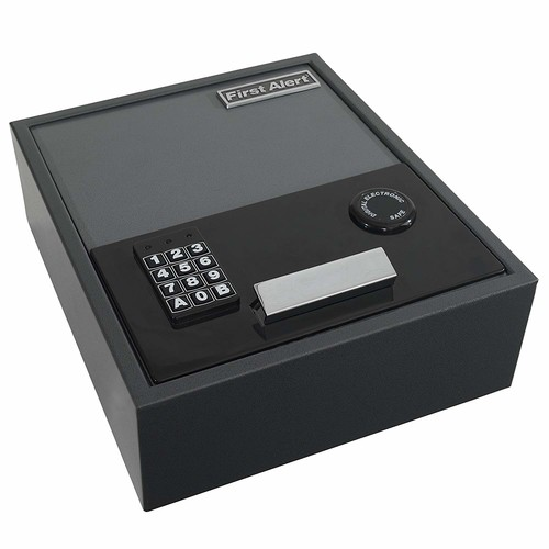 First Alert 2074F Top-Opening Anti-Theft Drawer Safe, 0.35 Cubic Foot, Gray