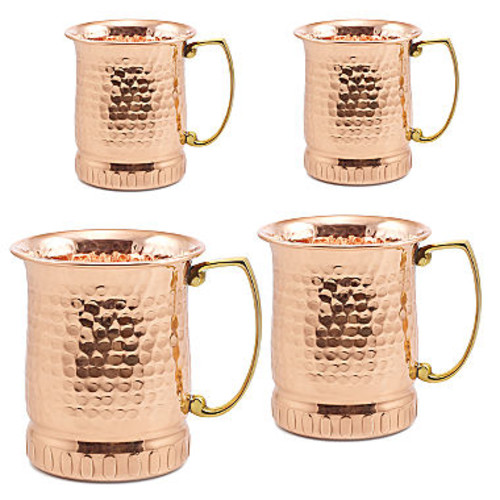 Dutch 17Oz Hammered Solid Copper Sui Generis Moscow Mule Mugs Set of 4