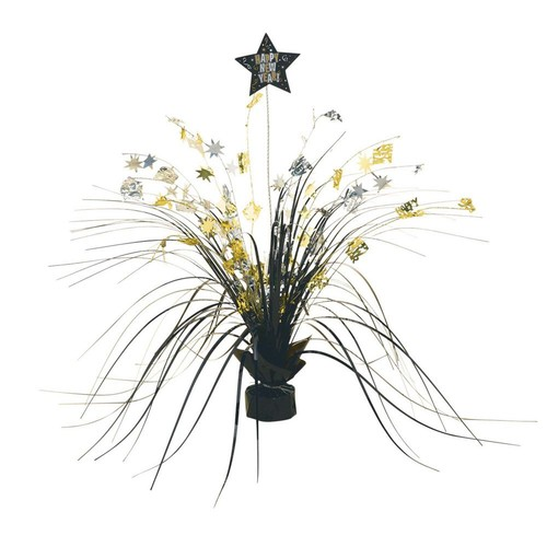 Amscan 3.5 in. New Year's Foil Spray Centerpiece in Black, Silver and G