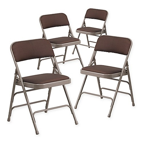 Flash Furniture Fabric 4-Pack Folding Chair in Beige/Brown