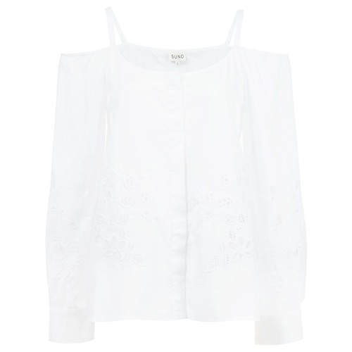 SUNO Cold-Shoulder Embroidered Blouse