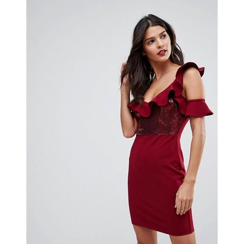 NaaNaa Frill Detail Mini Dress in Sequins
