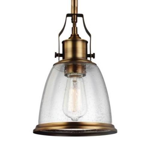 Feiss Hobson 1-Light Aged Brass Mini Pendant