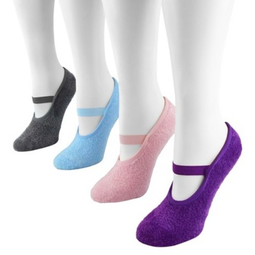 MUK LUKS Women's 4-Pack Maryjane Socks Butter crme With Aloe - Multi-Colored One Size