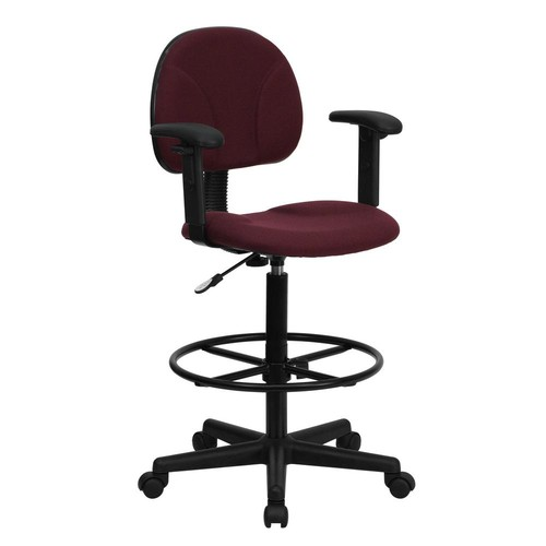 Flash Furniture Burgundy Fabric Ergonomic Drafting Chair with Height Adjustable Arms (Adjustable Range 22.5''-27''H or 26''-30.5''H)