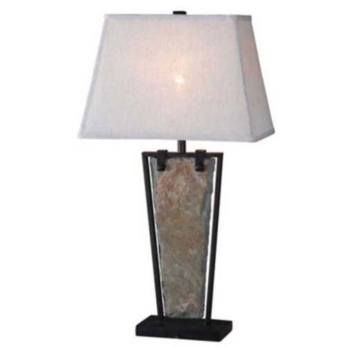 Kenroy Home Free Table Lamp in Natural Slate with Oatmeal Cotton Shade