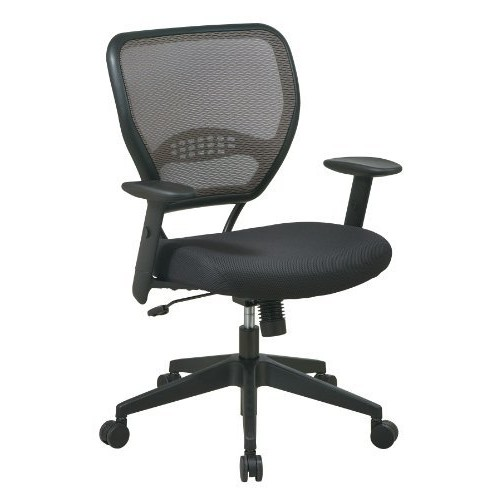 SPACE Seating AirGrid Latte Back and Black Padded Mesh Seat, 2-to-1 Synchro Tilt Control, Adjustable Arms and Tilt Tension with Nylon Base Managers Chair [Manager]