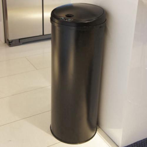 Matte Black 30-liter Round Step Trash Can with Bucket
