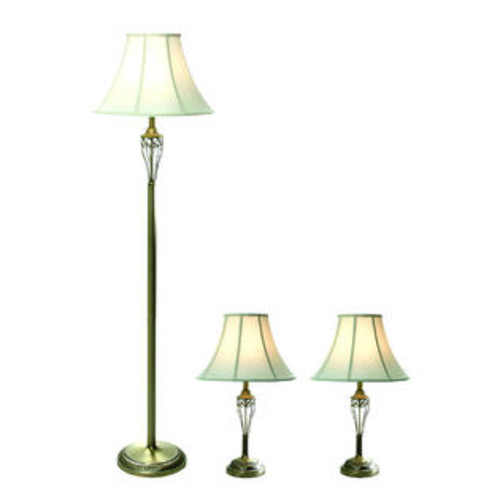 Elegant Designs Antique Brass Three Pack Lamp Set (2 Table Lamps, 1 Floor Lamp)