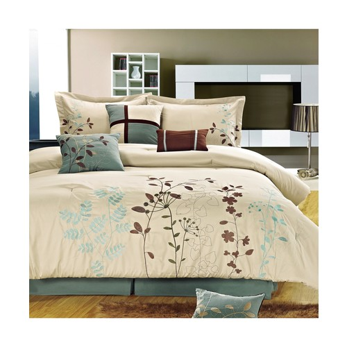 Bliss Garden Beige Comforter Bed In A Bag Set with Sheet Set 12 Piece