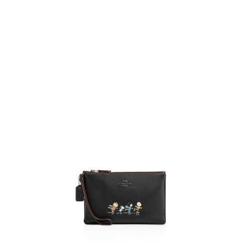 Boxed Small Wristlet in Refined Natural Pebble Leather with Snoopy