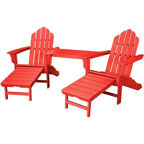 Hanover Rio Sunset Red 3-Piece All-Weather Plastic Patio Lounge Adirondack Chair Set with Ottoman