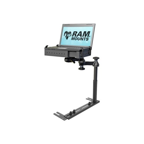 RAM Mounts Universal No-Drill Laptop Mount - Mounting kit (mounting base, notebook tray, telescopic pole, dual articulating swing arm) for notebook - steel, high-strength composite - car seat bolts (RAM-VB-196-SW1)