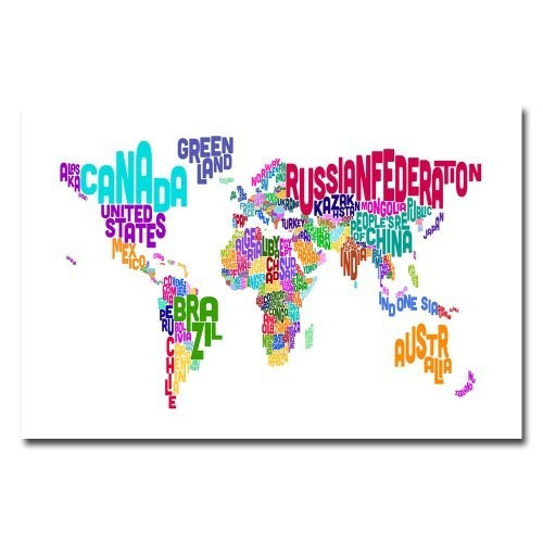 Typographic Text Map by Michael Tompsett, 16x24-Inch Canvas Wall Art [16 by 24-Inch]