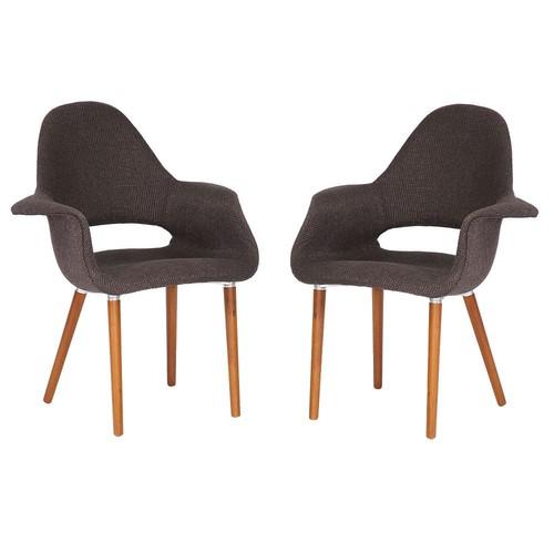 Baxton Studios Set of 2 Forza Dark Brown Fabric Mid-Century Modern Arm Chair