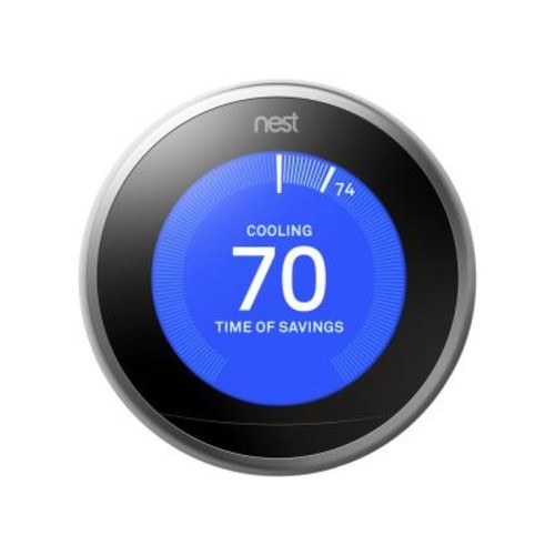 Nest 3rd Generation 7 Day Programmable Learning Wi-Fi Thermostat, Stainless Steel (2-Pack)