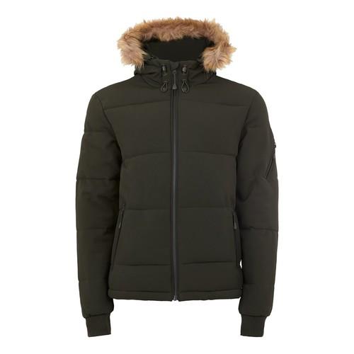 Khaki Hooded Puffer Jacket