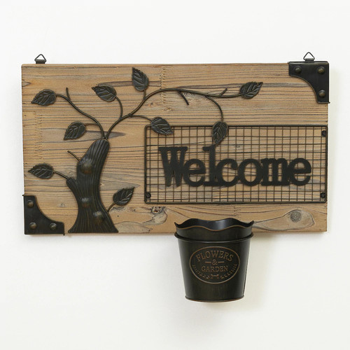 Welcome Squirrel Wall Hang Bird Feeder - Brown