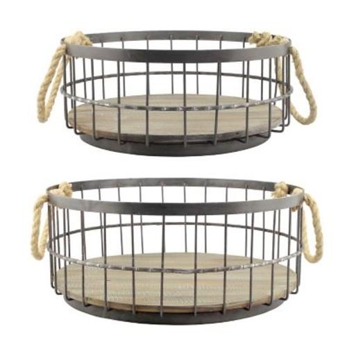 CKK Home D cor, LP Stonebriar 2 Piece Wire and Wood Coastal Basket Set