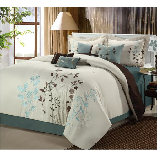 Chic Home Bliss Garden 8 pc Embroidered Comforter Set - Beige