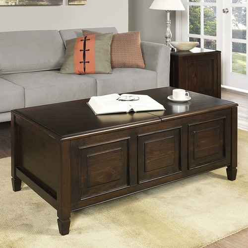 Simpli Home - Connaught Coffee Table with Trays - Dark Chestnut Brown