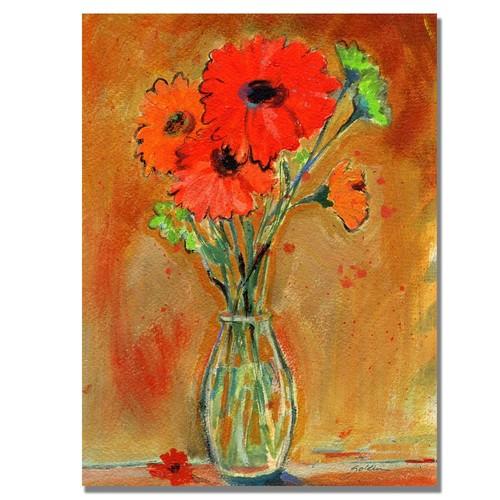 Trademark Global Sheila Golden 'Daisy Vase' Canvas Art [Overall Dimensions : 18x24]